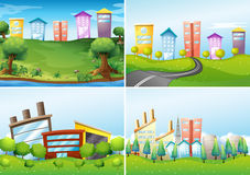 Town scenes. Set of four city scenes stock illustration