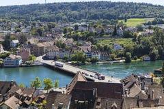 Town Schaffhausen, Switzerland. River Rhine and the bridge. Royalty Free Stock Photo