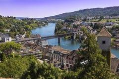Town Schaffhausen, Switzerland. River Rhine and the railway brid Stock Image