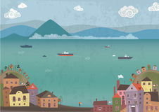 Town on sea shore. Vector illustration of town on sea shore and dreaming girl on beach royalty free illustration