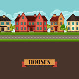 Town seamless border with cottages and houses Royalty Free Stock Image