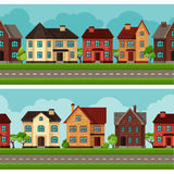 Town seamless borders with cottages and houses Royalty Free Stock Photos