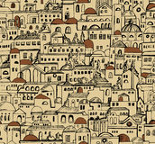 Town seamless pattern with buildings Stock Images