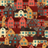 Town seamless pattern with cottages and houses Stock Photos