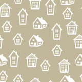 Town seamless pattern with cottages and houses Royalty Free Stock Image