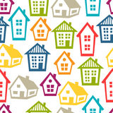 Town seamless pattern with cottages and houses Stock Image