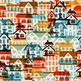 Town seamless pattern with cute colorful houses Stock Photos