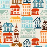 Town seamless pattern with cute colorful houses Stock Images