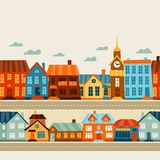 Town seamless pattern with cute colorful houses Stock Photo