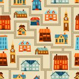 Town seamless pattern with cute colorful houses Royalty Free Stock Photo