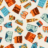 Town seamless pattern with cute colorful houses Royalty Free Stock Photography