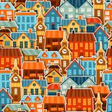 Town seamless pattern with cute colorful sticker Royalty Free Stock Photography
