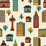Town seamless pattern with hand drawn houses Royalty Free Stock Photography