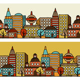 Town seamless pattern with hand drawn houses Royalty Free Stock Photo