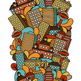 Town seamless pattern with hand drawn houses Stock Image