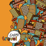 Town seamless pattern with hand drawn houses Stock Photography