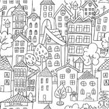 Town seamless pattern. Hand drawn page for coloring book with a lot of houses. Black and white. Doodle stile Royalty Free Stock Photos