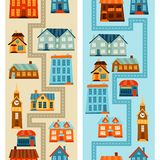 Town seamless patterns with cute colorful houses Royalty Free Stock Photos