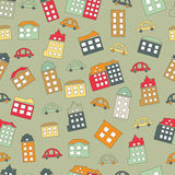 Town seamless vector repeat pattern. Vector illustration for abstract geometric city design. Endless print background texture. Retro and vintage Stock Photography