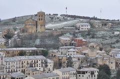 Town of Sepulveda, snowy day, Segovia (Spain) Royalty Free Stock Photo