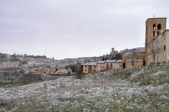 Town of Sepulveda, snowy day, Segovia (Spain) Stock Photography