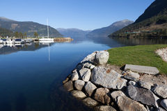 In the town on the shore of Kinsarvik Hardanger Fjord. Norway. Royalty Free Stock Photos