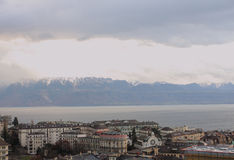 Town on the shore of the lake. Lausanne, shores of Lake Geneva Royalty Free Stock Photography