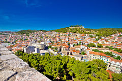 Town of Sibenik and hill fortress view Royalty Free Stock Photography