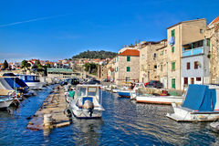 Town of Sibenik old fishermen harbor Royalty Free Stock Photo