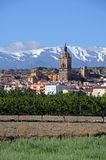 Town and Sierra Nevada mountains, Guadix, Spain. View of the town and Cathedral with the snow capped mountains of the Sierra Nevada to the rear, Guadix, Granada Royalty Free Stock Photos