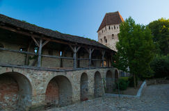 Town of Sighisoara, Brasov county, Transylvania, Romania. Medieval fortress of Sighisoara in Brasov county stock image