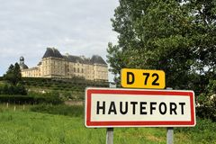 Town sign of the city of Hautefort Stock Photo