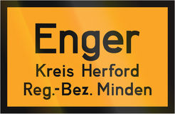 Town Sign Enger Royalty Free Stock Photo