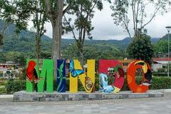 Town sign in Mindo, Ecuador stock photo