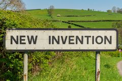 New Invention, Shropshire, England, UK. The town sign of New Invention, Shropshire, England, UK stock photo