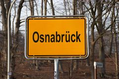 A  town sign Osnabrück. A yellow town shield Osnabrück in Germany Royalty Free Stock Image