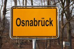 A  town sign Osnabrück. A yellow town shield Osnabrück in Germany Stock Image