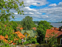 Town of Sigtuna with the lake Malär Stock Images