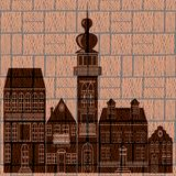 Town silhouette on graphic engraving background. Royalty Free Stock Images