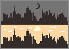 Town Silhouette. Simple Silhouette of little town Royalty Free Stock Image