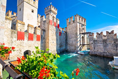 Town of Sirmione entrance walls view. Lago di Garda, Lombardy region of Italy Royalty Free Stock Photo