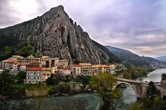 Town of Sisteron in Provence, France. Sisteron is situated on the banks of the River Durance - Provence-Alpes-Côte d'Azur ( Route Napoléon Royalty Free Stock Photos