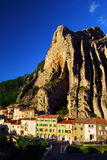 Town of Sisteron in Provence France. Houses at the base of a cliff in town of Sisteron in Provence, France Stock Images