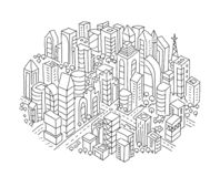 City sketch In the circle. Hand drawn black line. Stock Image