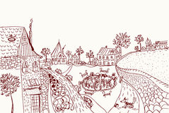 Town sketch of old style Royalty Free Stock Image
