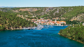 Town of Skradin on Krka river in Dalmatia, Croatia viewed from distance Royalty Free Stock Images