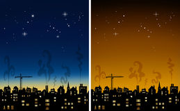 Town Skyline at night illustration. Rooftops at night with a choice of two night skys Stock Photos