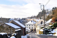 Town in snow landscape Stock Images