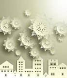 Town with snowflake Stock Images