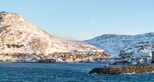 Town on snowy bay